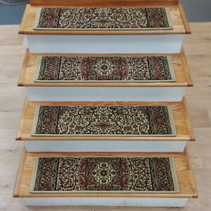"""Rug Depot 13 Traditional Non Slip Carpet Stair Treads 31"""" x 9"""" Beige Stair Rugs"""