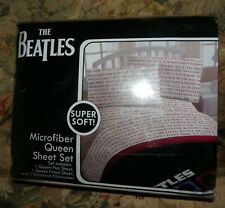 THE BEATLES 4pc Queen Size Sheets Fitted Flat & Pillow Cases Microfiber Bedding
