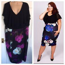 Scarlett & Jo 2in1 Chiffon Top Floral pencil dress uk plus size 28