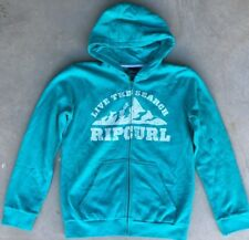 Boy's Ripcurl Sz 16 Hoodie Teal/White Hooded Sweatshirt