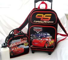 """CARS LIGHTNING MCQUEEN BLACK 16"""" ROLLING DETACHABLE BACKPACK+MATCHING LUNCHBOX"""