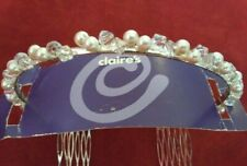NEW! Claire's Pearl & Rhinestone Tiara-Prom-Wedding-Flower Girl-Bride-Beautiful