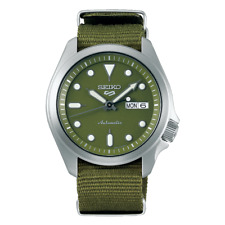 NEW Seiko 5 Sports 100M Automatic Men's Watch Military All Green Nylon Strap