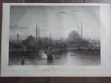 GRAVURE MARINE NAVIRES BATEAUX 1840 CONSTANTINOPLE ISTANBUL PORT
