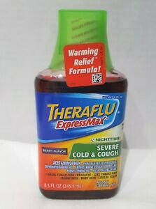 TheraFlu Express Max Night Time 8.3 oz Severe Cold Cough Fever Pain Syrup Berry