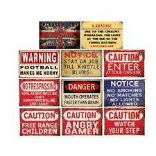 Retro Metal Tin Signs Notice Stay On Job Plate Warning Beware Art Wall Decor