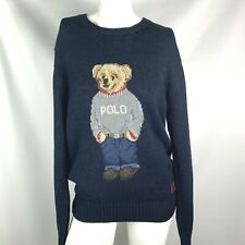 Polo Ralph Lauren Men's Polo Bear Sweater size small blue cotton