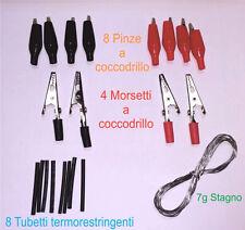 Kit 21 pz - morsetti e pinze a coccodrillo + tubetti guaina termo + stagno