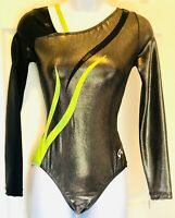 GK WOMENS LARGE LgSLV STEEL MYSTIQUE BLACK LIME FOIL GYMNASTIC DANCE LEOTARD AL