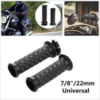 """One Pair Black Motorcycle Bikes 7/8"""" Handlebar Rubber Hand Grips Cover Universal"""