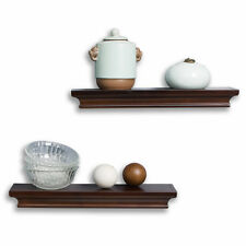 Decorative Wall Shelves Set Espresso Brown Finish Of 2pcs