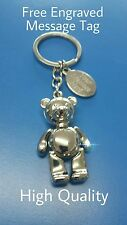 Personalised teddy bear metal keyring with your engraved message- gift