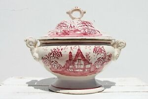 19th Century Portuguese Earthenware Large Covered Tureen depicting a House