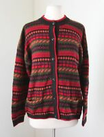 Black Red Green Striped 100% Alpaca Soft Cardigan Sweater Size M  ?