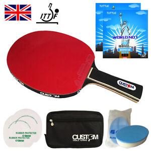 Custom Table Tennis Black Mamba Carbon World No.1 Table Tennis Bat Bundle UK New