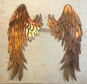 Two Angel Wings Wall Metal Art with Rustic Copper Finish Hanging