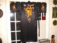 Beautiful Chinese Black Silk Robe/Kimono w/Embroidered Gold Dragons & Pearls