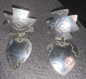 VINTAGE STERLING 925 DANGLE CLIP EARRINGS TRIBAL SOUTH WEST STYLE