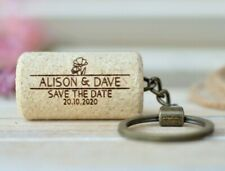 Set of 10 Personalized Wine Cork Keychains customized - Save the Date
