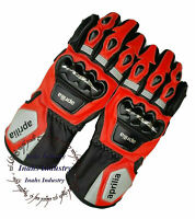 Aprilia Top Quality Motorbike Original Leather Motorcycle Gloves full Protected