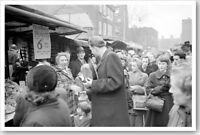 1954 Silver Halide Photo Of Billy Graham Greeting People At A London Market