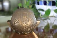 Rare Find Ornate Brass Globe Shaped Ashtray