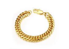18K Gold GP Vintage Simple Classic Men's 10mm Chain BraceletGold