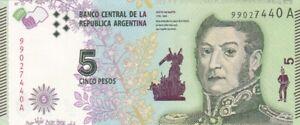 UNC 2015 Argentina 5 Pesos Note, Pick 359.
