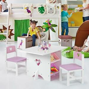 Children's Nursery Wooden Heart Play Table and 2 Chairs Set with 4 Storage Boxes