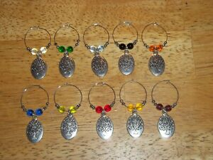 TREE OF LIFE Wine Glass Charms Marker set of 10