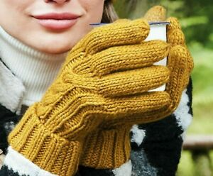 Beechfield Cable Knit Melange Thick Gloves Hand-Knitted Feel Hand Warm (B497)