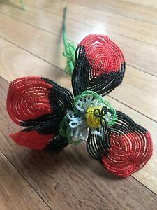 "Vintage BEADED FLOWER:  Red & Black, Made in FRANCE  6.5"" diameter, bendable"