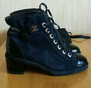 Chanel Lace Up Navy Suede Black Patent Leather Boots Size 37.5, US 7