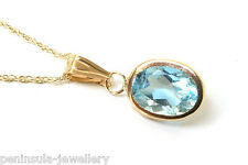 "9ct Gold Blue Topaz Pendant and 18"" Chain Gift Boxed Made in UK"