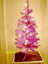 2 FT PRE-LIT/PRELIT PURPLE ARTIFICIAL CHRISTMAS TREE ~ 75 TIPS 20 LIGHTS - NIB