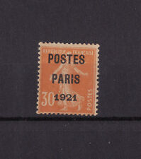 timbre France préoblitéré  semeuse 30c orange poste Paris 1921  n° 29 **  signé
