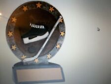 """Hockey trophy award with engraving, about 4.5"""" tall, skate, stick and puck"""