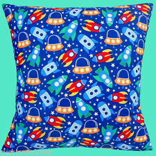 """BRAND NEW MICHAEL MILLER SPACESHIPS ROCKETS STARS 100% Cotton 16"""" Cushion Cover"""