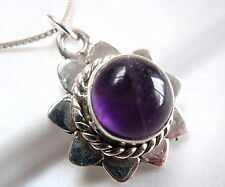 925 Sterling Silver Corona Sun Jewelry Amethyst Necklace with Rope Style Accents