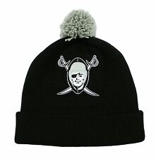 NFL Oakland Raiders Mitchell and Ness Pom Cuffed Winter Knit Hat Beanie Cap M&N