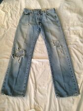 Mens Hollister Vintage 5 Pocket BOOT Jeans Destroyed Size 30X32 Button Fly