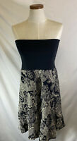 CAbi Women's Black Cream Paisley Reversible Bubble Skirt Dress Size S