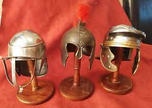 Miniature Collectable Viking / Roman Metal Helmets on Stands x 3
