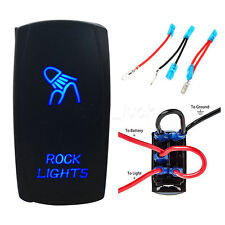 US Stock 5pin wiring & Blue LED Laser Rocker Switch Rock Lights Relay Fuse JEEP