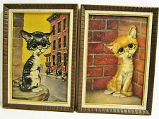 SET OF 2 Vintage Gig PITY KITTY Pictures art Big Eyes Alley Cats Tabby EXCELLENT