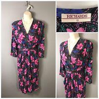 Vintage Richards Black Pink Floral Wrap Dress UK 10 EUR 38 US 6