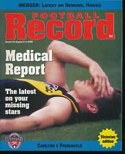 1996 AFL Football Record Carlton Blues v Fremantle Dockers Aug 2 - 4