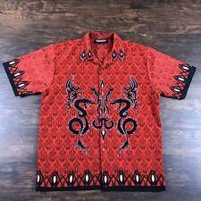 Men's Lounge Shirt Size Large Black Red Biohazard Goth Grunge Underground Dragon