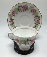 Colclough Bone China Pink Tea Cup and Saucer Pink Flowers gold trim