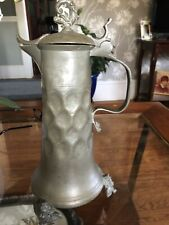 Antique Pewter Tankard Dolphin Design Sprout Colonial ? 18th Century? Signed